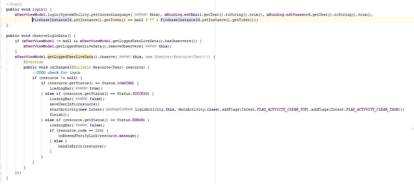 Example of Login API